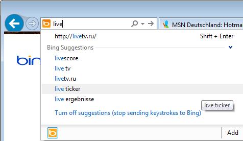 bing turn off suggestions