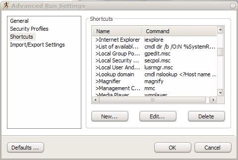 advanced run shortcuts