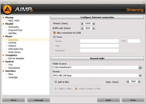 aimp record internet radio