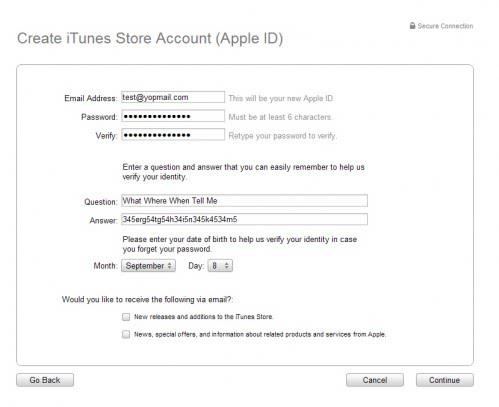 create itunes store account