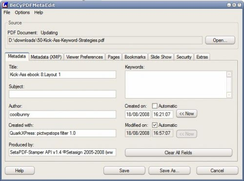 PDF metadata editor change metadata of PDF document