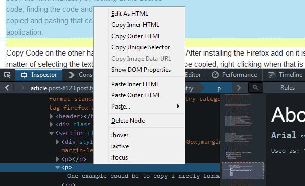 firefox copy html