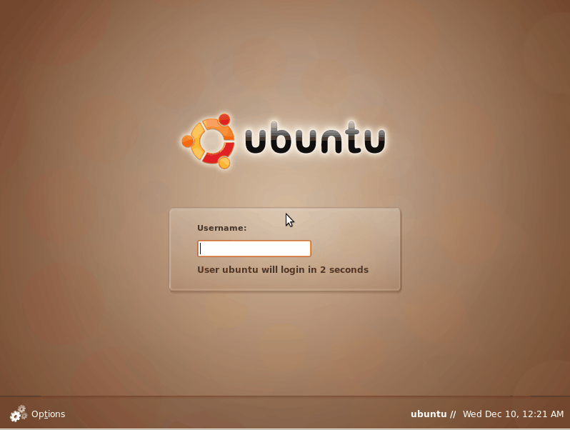 The Ubuntu log in screen.