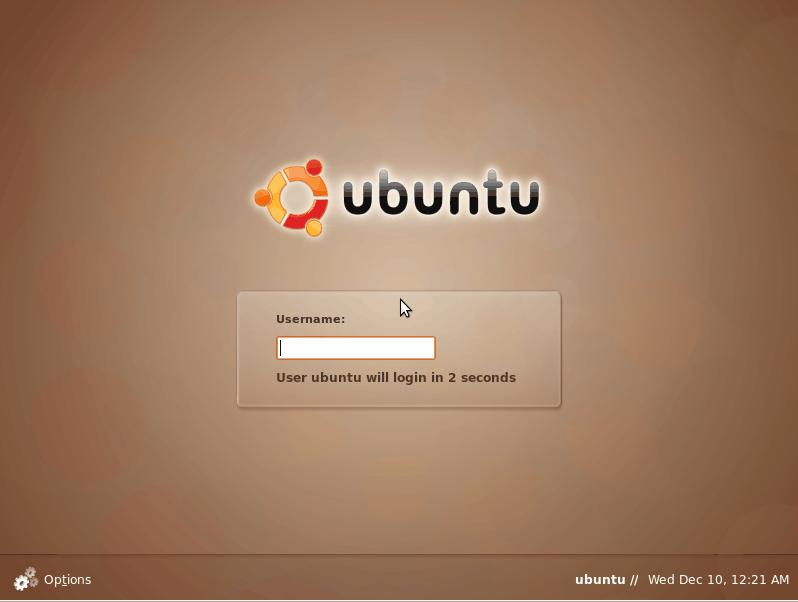 The Ubuntu log in screen.
