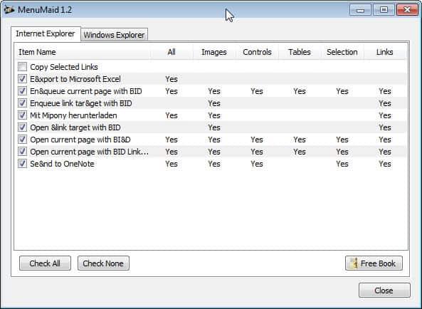 internet explorer menu items