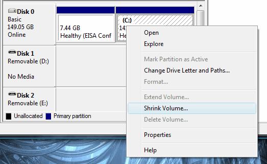 Partition managing menu