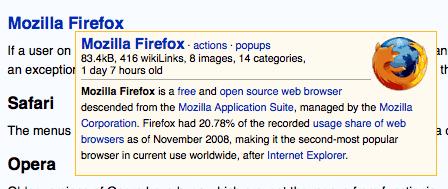 Wikipedia pop-ups