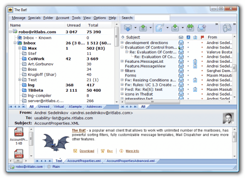 the bat email client