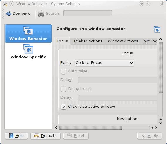 Window Behavior Settings