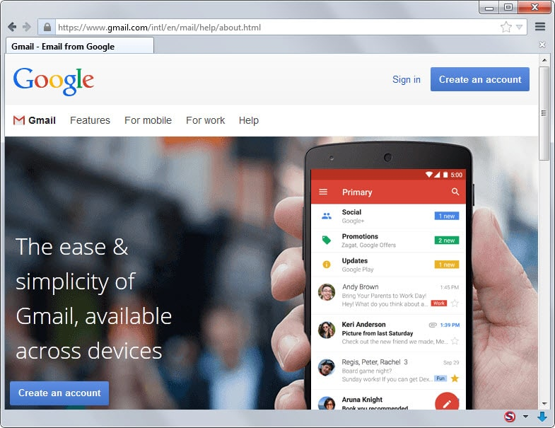 gmail homepage