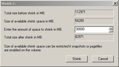 Windows Vista Shrink Volume Problems