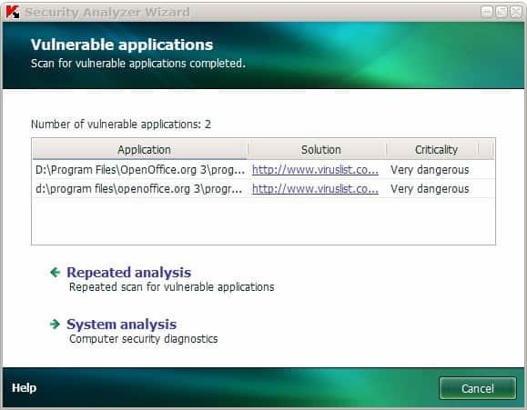 kaspersky vulnerable applications