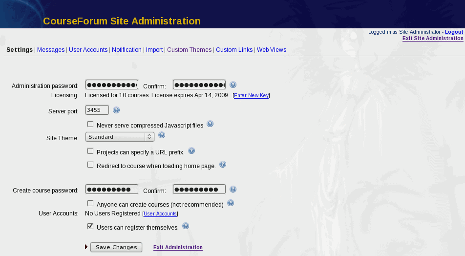 CourseForum Admin Page