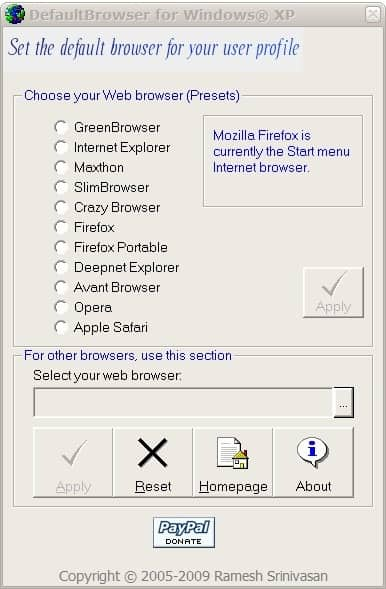 default internet browser