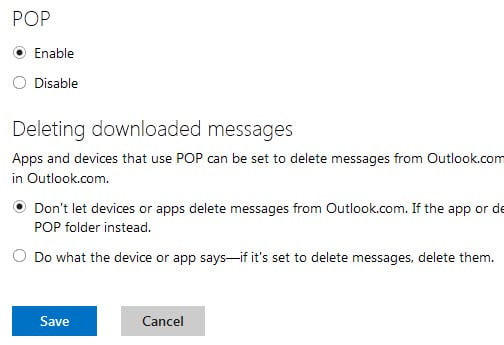 Hotmail and Outlook POP3 Configuration