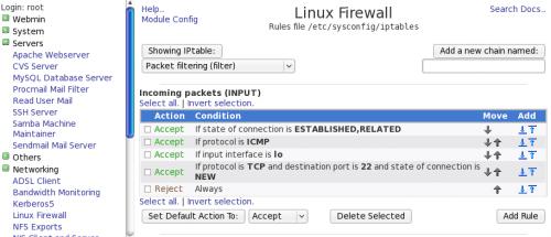 Webmin Firewall