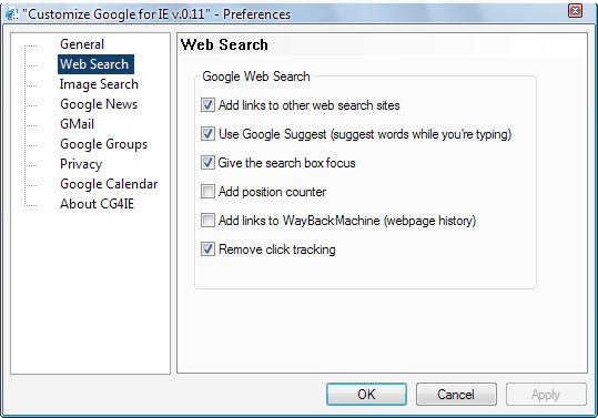 customize google internet explorer