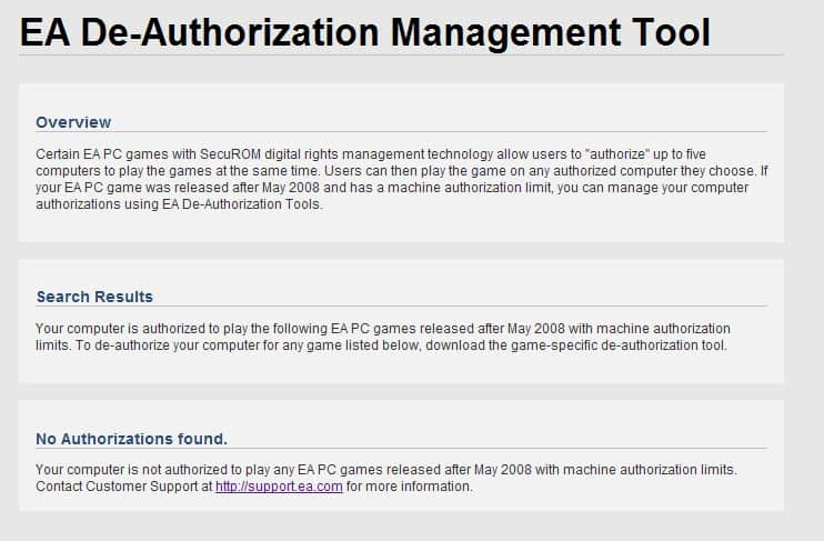 ea de-authorizing management tool