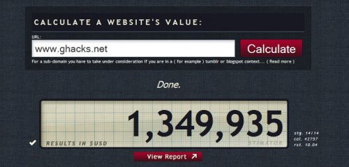 Website Value Calculator Stimator