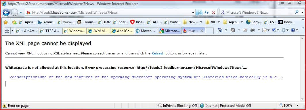 internet explorer 8 feed error
