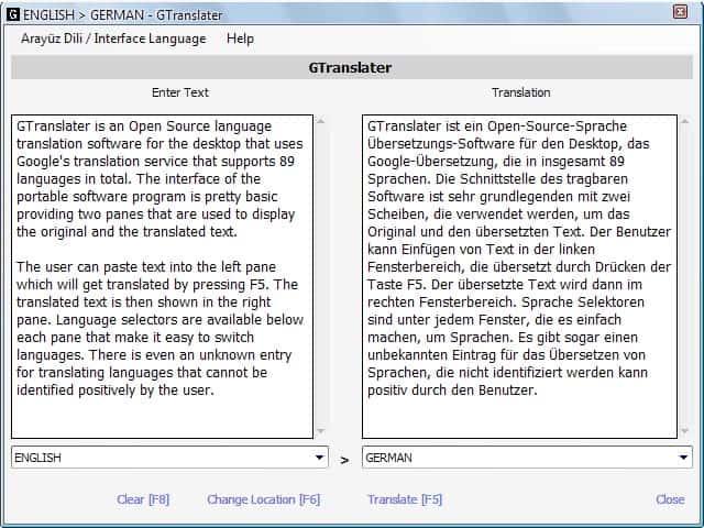 language translation interface