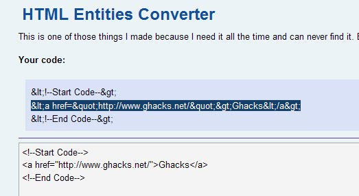 html entities converter