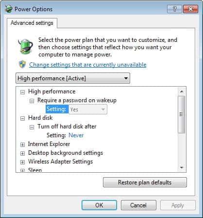 power options hard disk sleep