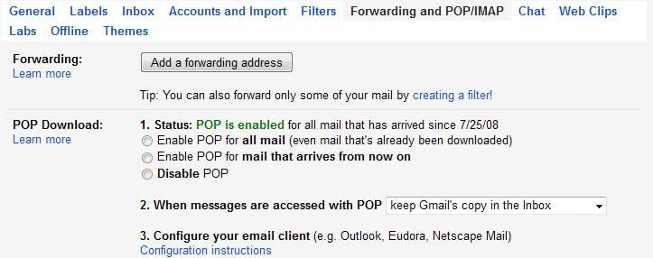 gmail pop configuration