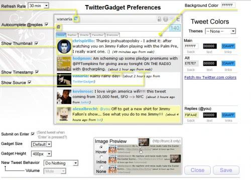twitter gadget