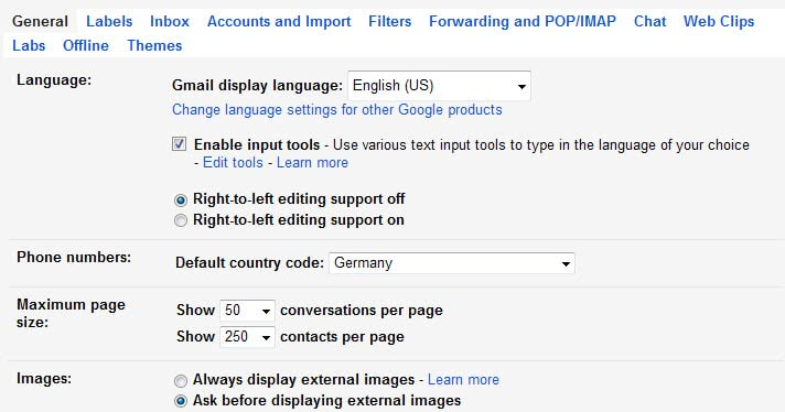 gmail display images