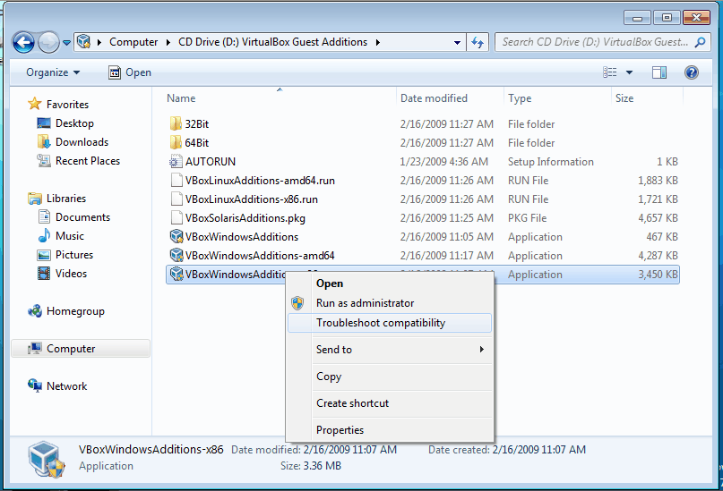 Install VirtualBox Guest Additions for Windows 7