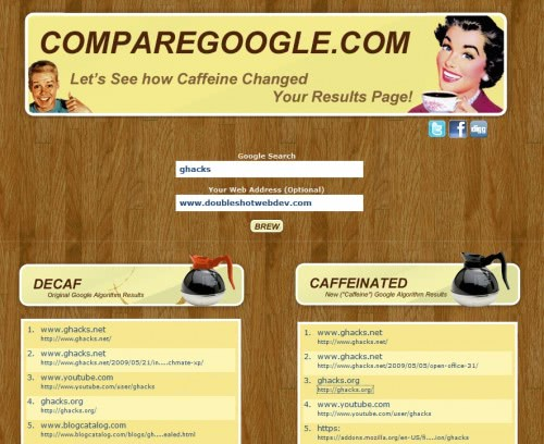 Compare Current And Upcoming Google Search Results