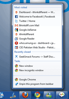 Google Chrome Windows 7 Jumplists - gHacks Tech News