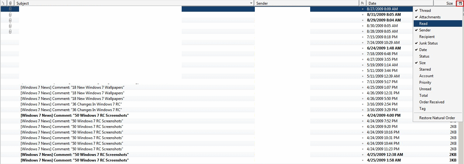 email display options