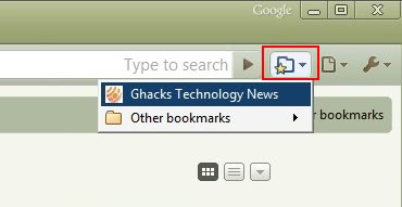 Add Bookmarks Button In Google Chrome Address Bar