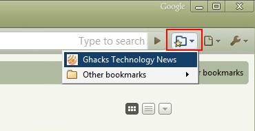 google chrome bookmark button