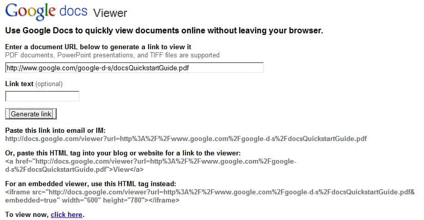 google docs viewer link