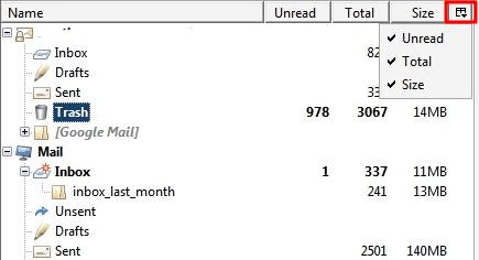 thunderbird email folder view
