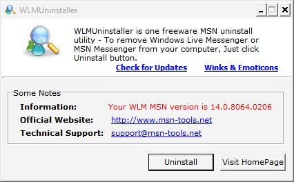 windows live messenger uninstaller