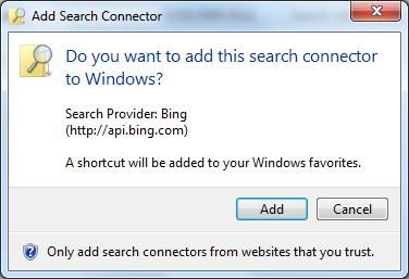 Bing Federated Search Connector For Windows 7