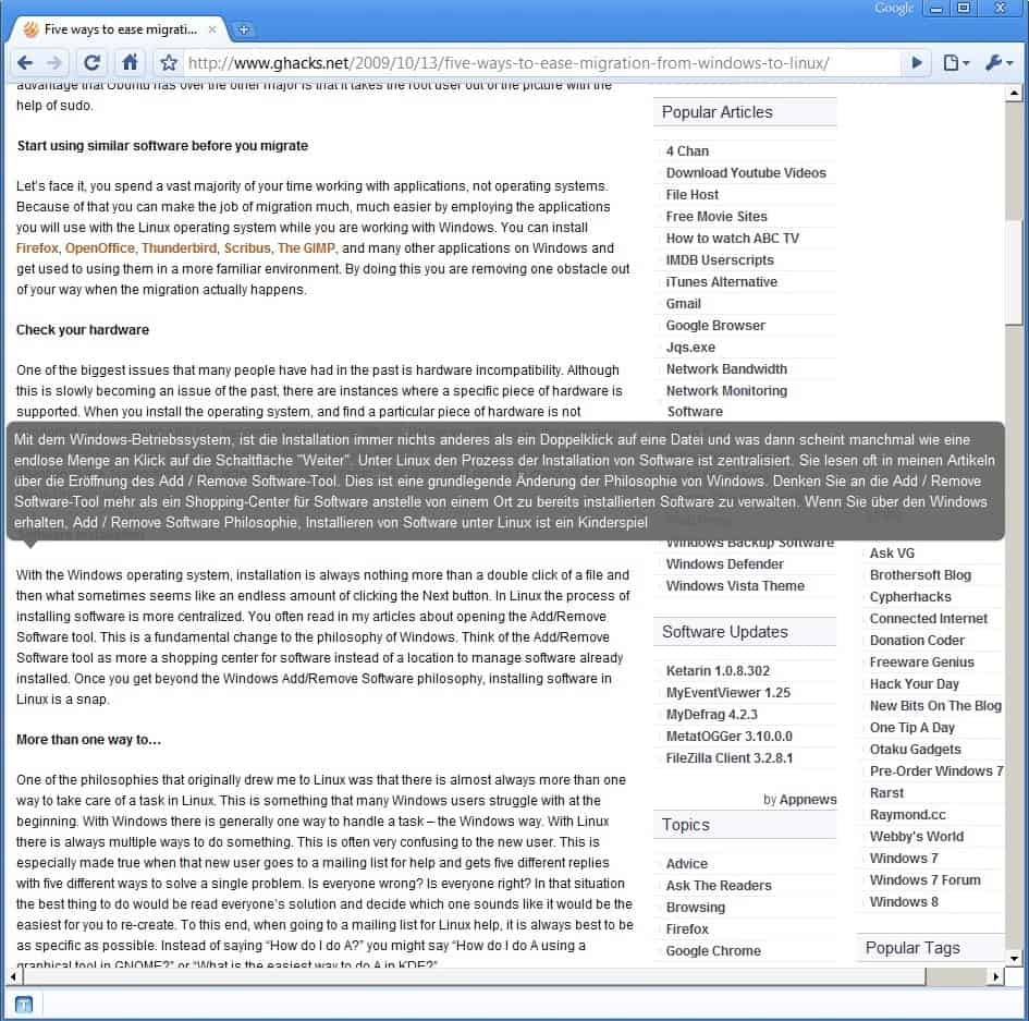 chrome browser translation example