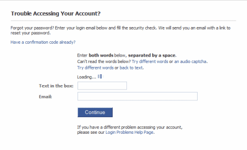facebook password reset
