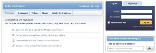 myspace login page