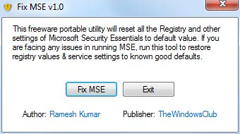 repair microsoft security essentials