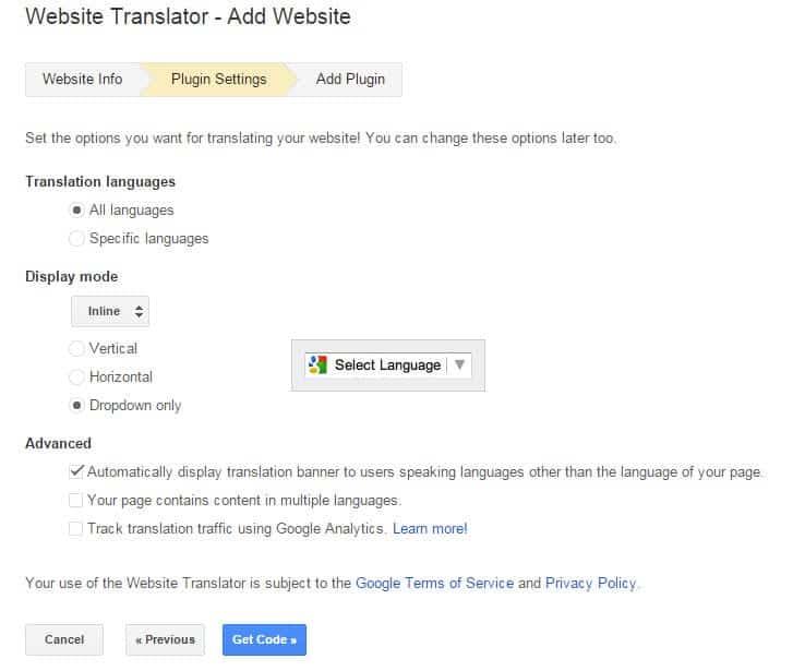 website translator settings