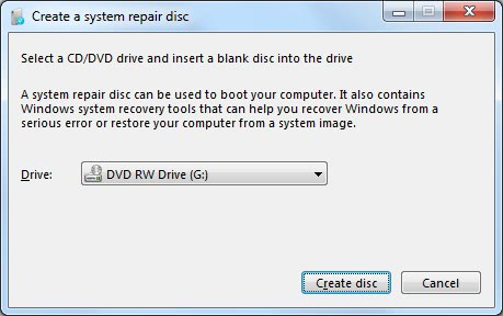 recover windows 7 without disc