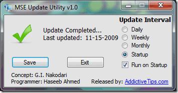 Microsoft security essentials update Utility