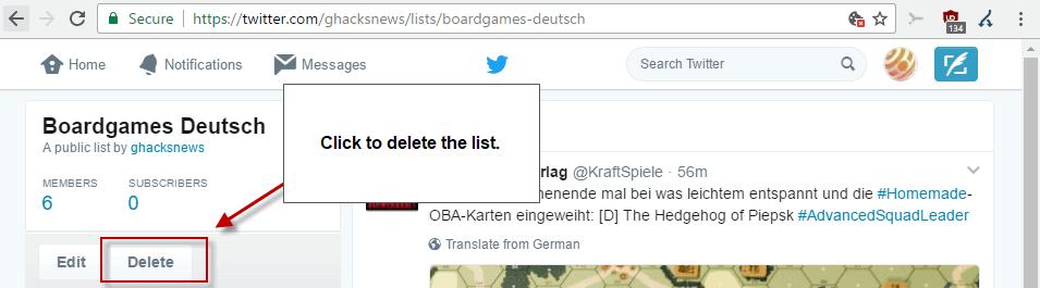 delete twitter list