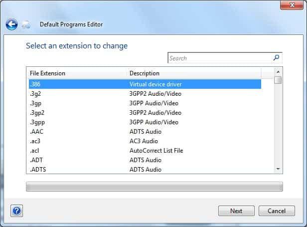edit default programs