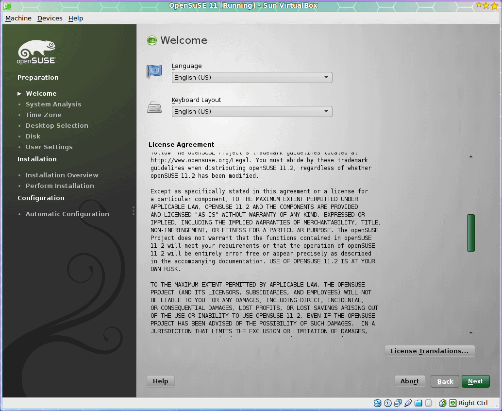 Walk-through installation of OpenSuSE 11.2
